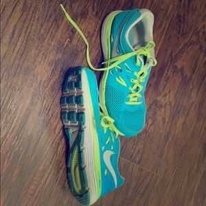 Blue and lime green women's Nike size 9